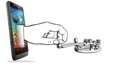 Picture of hand on telegraph key