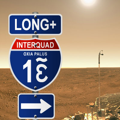 Picture of roadsign on Mars Interstate