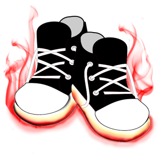 Cartoon of burning sneakers.